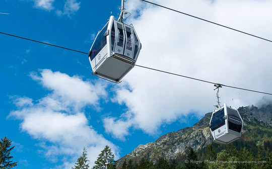 Underview of Brevent gondola lift cabins, with mountainside in Chamonix valley