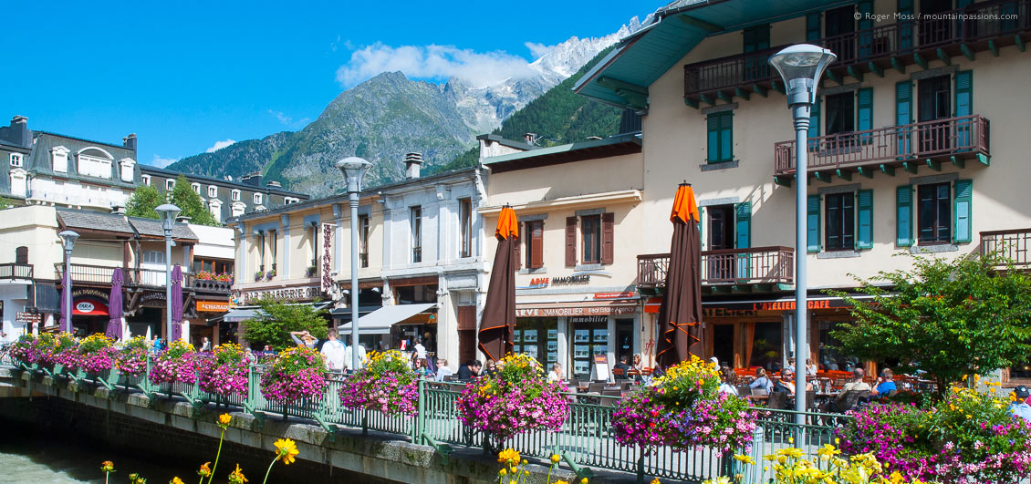View of summer flower displays in heart of Chamonix