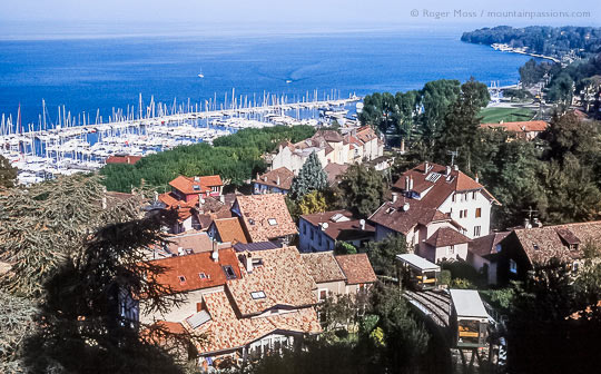 Overview of Lac Léman from Thonon-Les-Bains, with marina and funicular