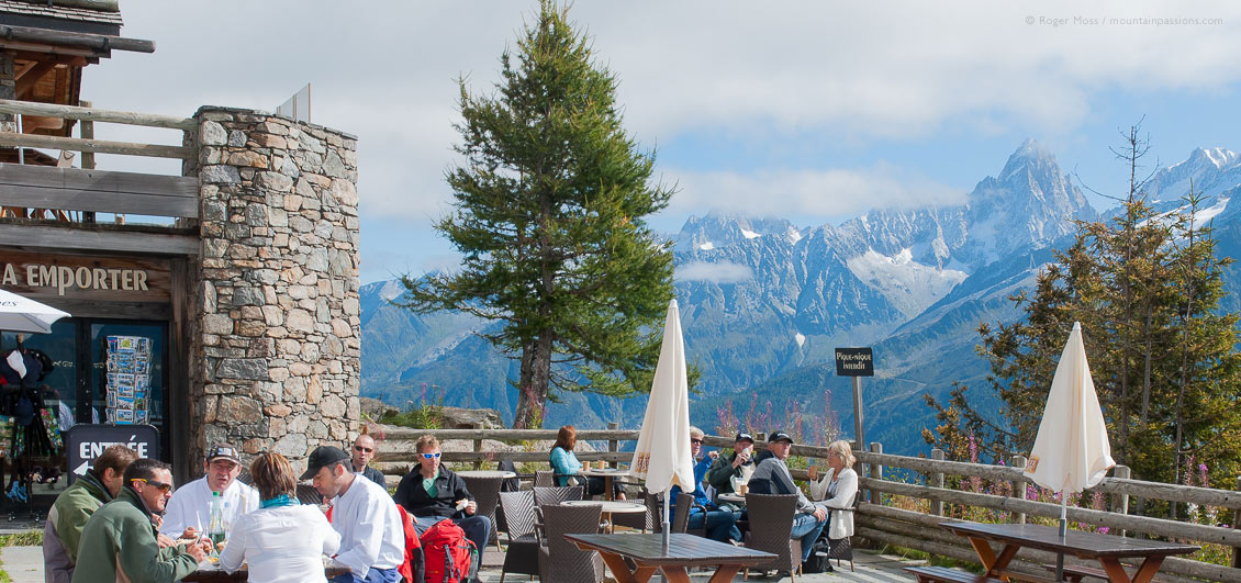 Mountain restaurant terrace with diners high above Chamonix