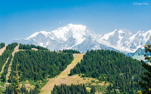 View over Les saisies towards Mont Blanc