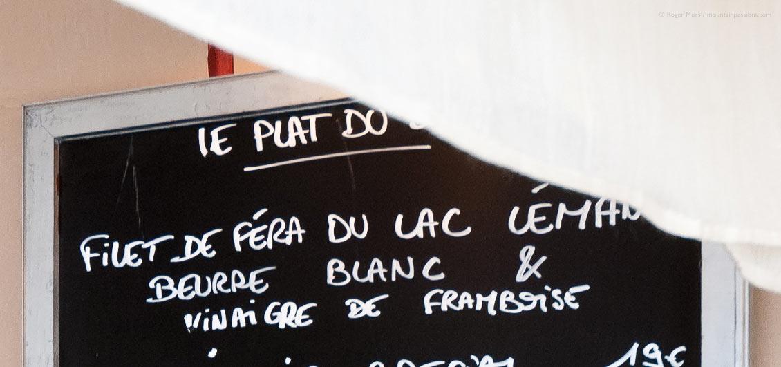 Detail of chalkboard menu in mountain restaurant