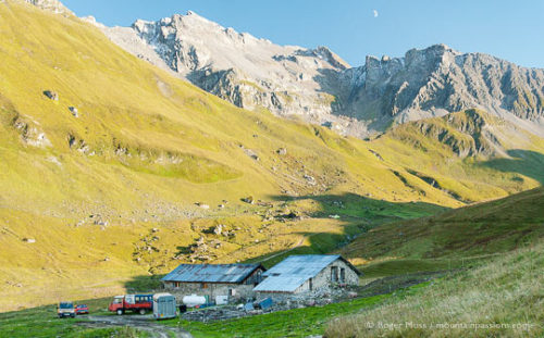 Long view ofBeaufort cheesemaking chalet at Conchette at dusk, French Alps.