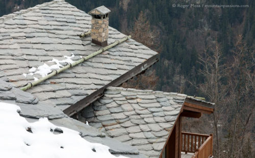 A lauze stone roof on mountain chalet in Sainte-Foy Tarentaise.