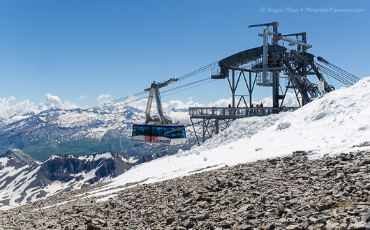 Tignes Grande Motte cable car in summer