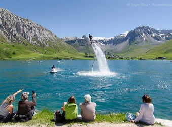 Flyboard demonstration at Tignes Le Lac with spectators