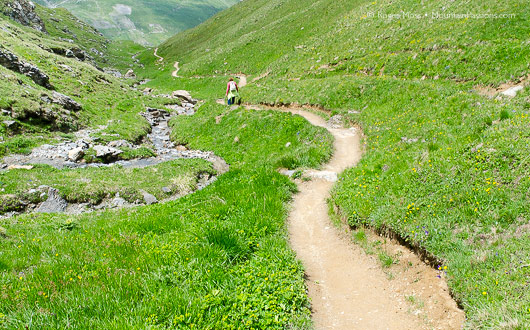 Footpath, Reserve Natural de la Sassiere, near Tignes