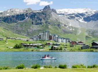 Tignes lake with mountains
