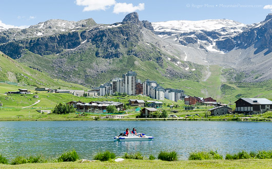 Tignes, lake with mountains, distant view of Val Claret