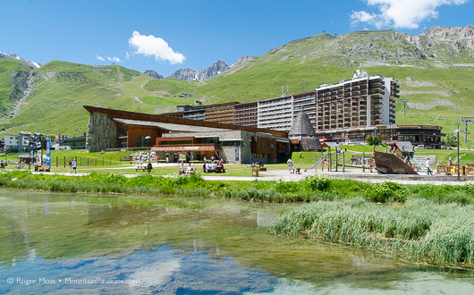 Tignes lakeside in summer, entrance to Le Lagon