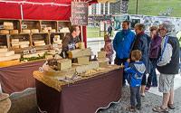 Cheese stall, market Tignes Le Lac