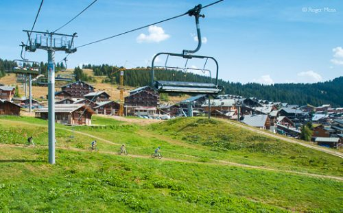 Les Saisies village with lift in summer