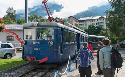 Passengers ready to board the Mont Blanc tram at the station in St Gervais.