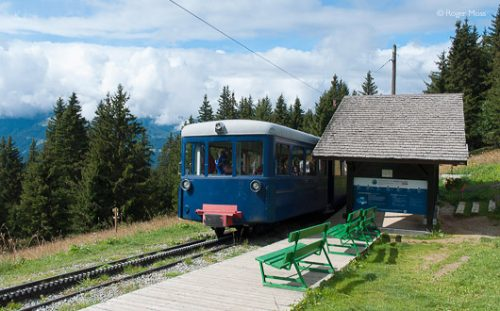 Tramway Mont Blanc passing Gare de Bellevue, Les Houches, French Alps.