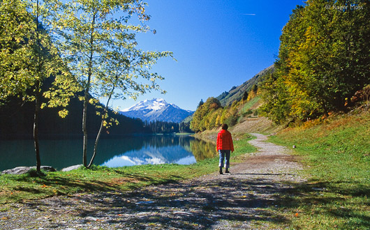 Lakeside footpath, Lac de Montriond, near Morzine.