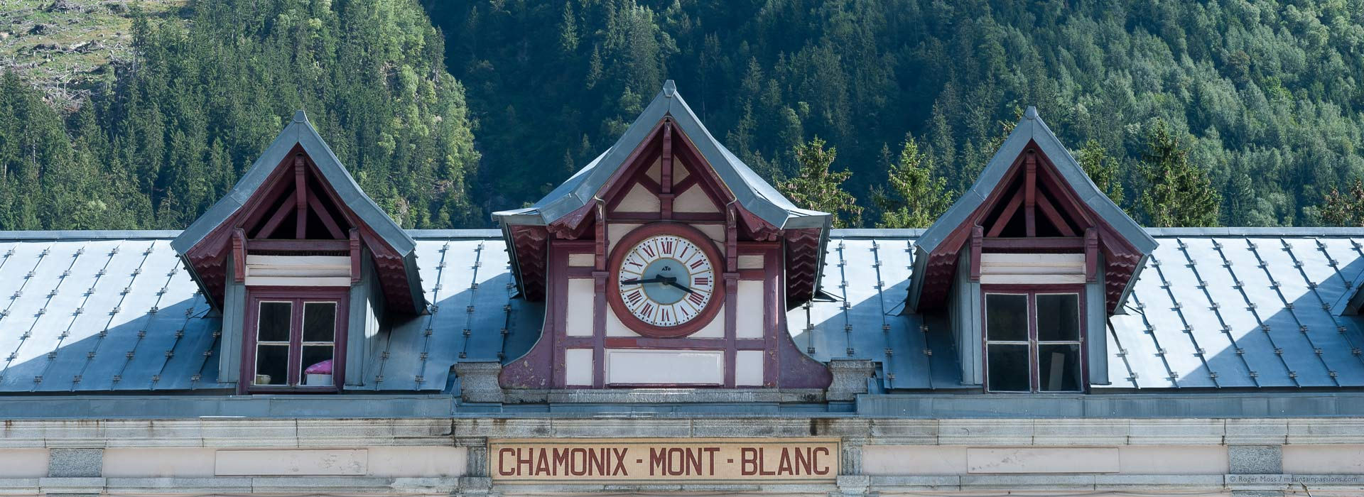 Roof of Chamonix Mont-Blanc Gare SNCF, French Alps, in summer.