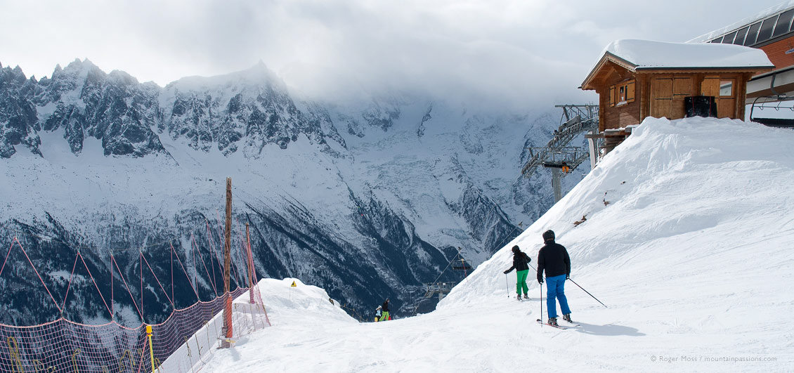 Skiers joining piste above Chamonix.