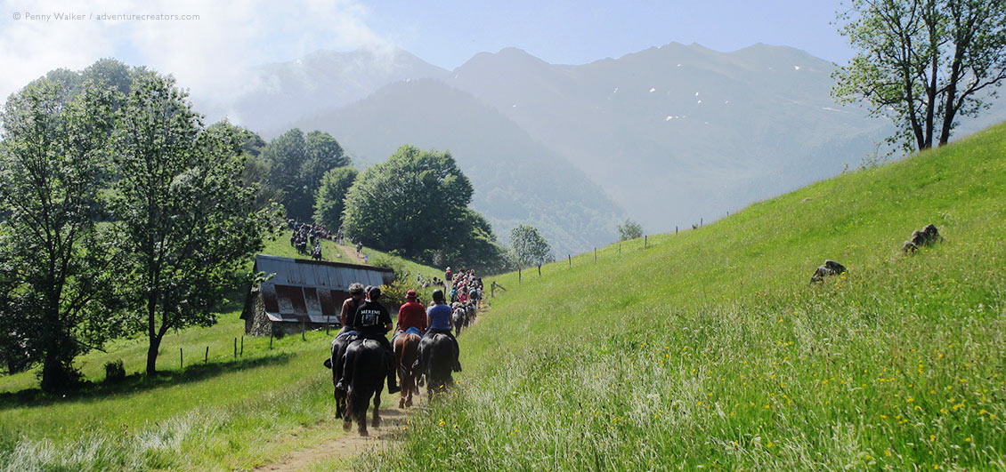 Group of horses and riders in mountain valley, transhumance festival in French Pyrenees.