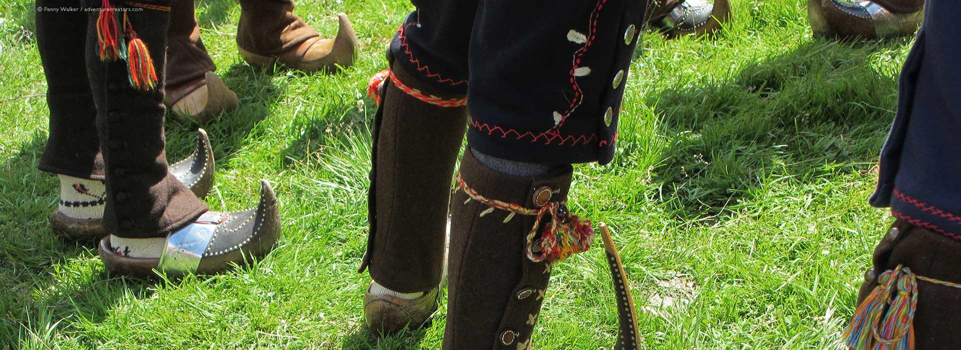 Traditional clogs during summer transhumance festival in French Pyrenees.