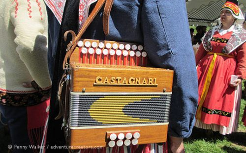 Accordion of musicians during the transhumance festival, French Pyrenees.