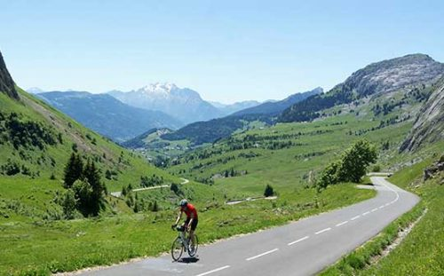 Cyclist in the French Alps on a Bike Weekender short break cycling holiday