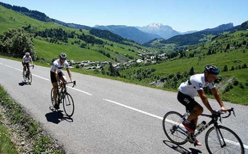 Cyclists in the French Alps on a Bike Weekender short break cycling holiday