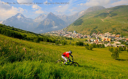 Les Deux Alpes in summer with VTT cyclist