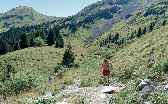 Wide view of walker descending mountain footpath near Avoriaz, French Alps