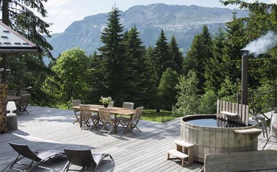 Terrace at Ecotagnes, Massif des Aravis, French Alps